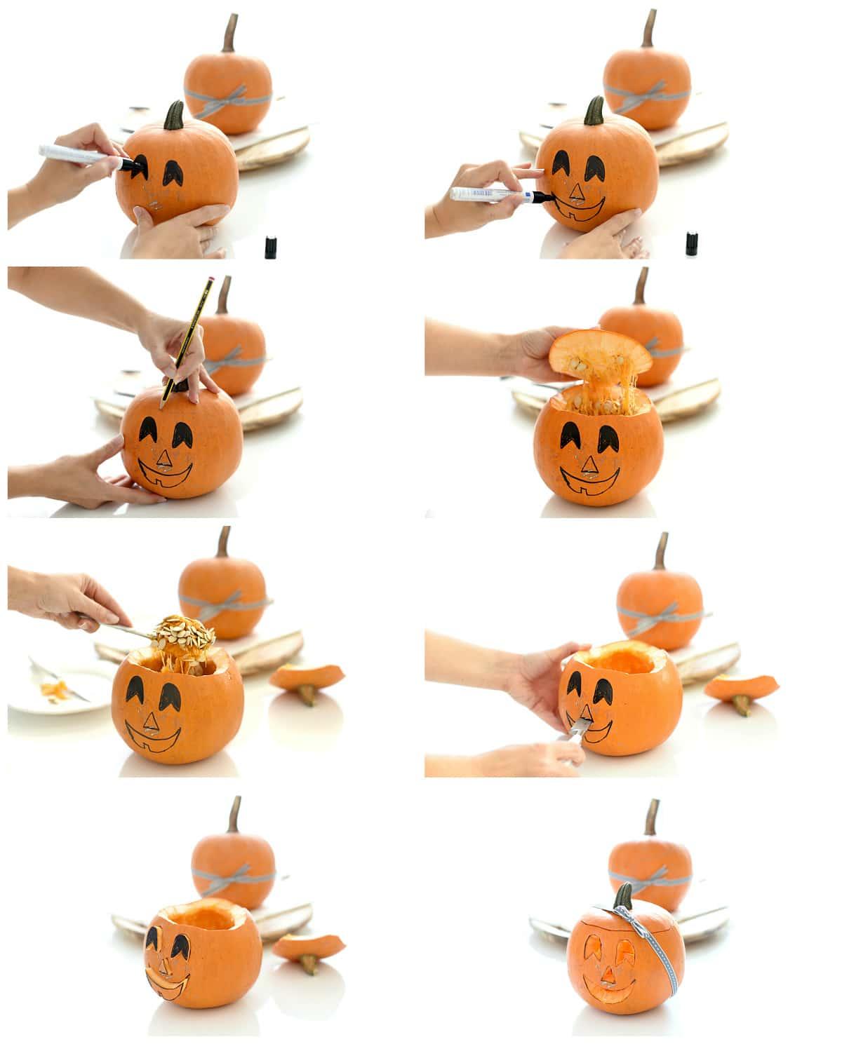 Calabazas decoradas para Halloween paso a paso Velocidad Cuchara