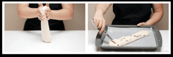 Ayúdate de una tijera, para dar cortes profundos en la masa y dar forma de espiga