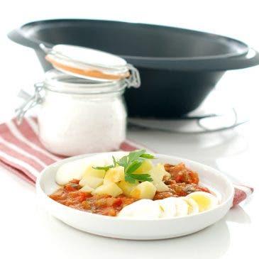 Pisto con patatas y huevo