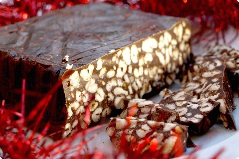 Turrón de chocolate con krispies