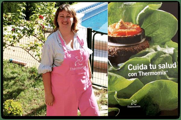 Vicky Ortiz con sus nuevos regalos: el libro y el delantal