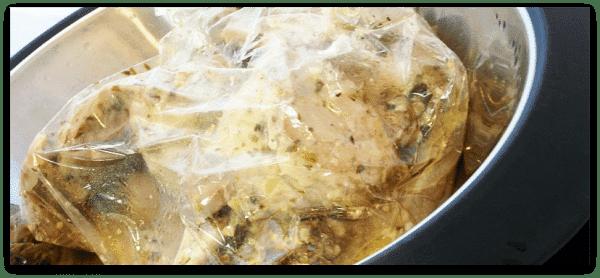 Paletillas dentro de la bolsa de asar, en el Varoma