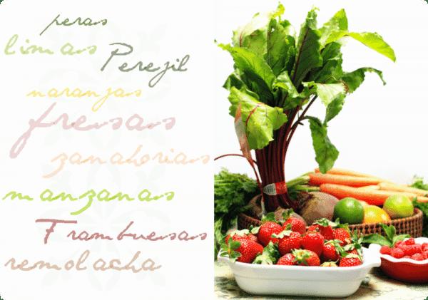 Bodegón bien fresquito, con frutas y verduras de temporada