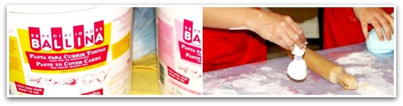 Fondant: el comprado de la marca Ballina y un pompón de maizena