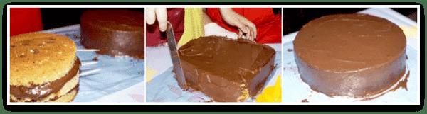 Aplicando ganaché de chocolate en una tarta