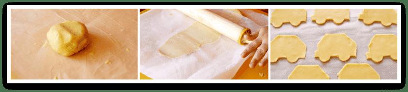 Galletas estiradas y cortadas, listas para hornear