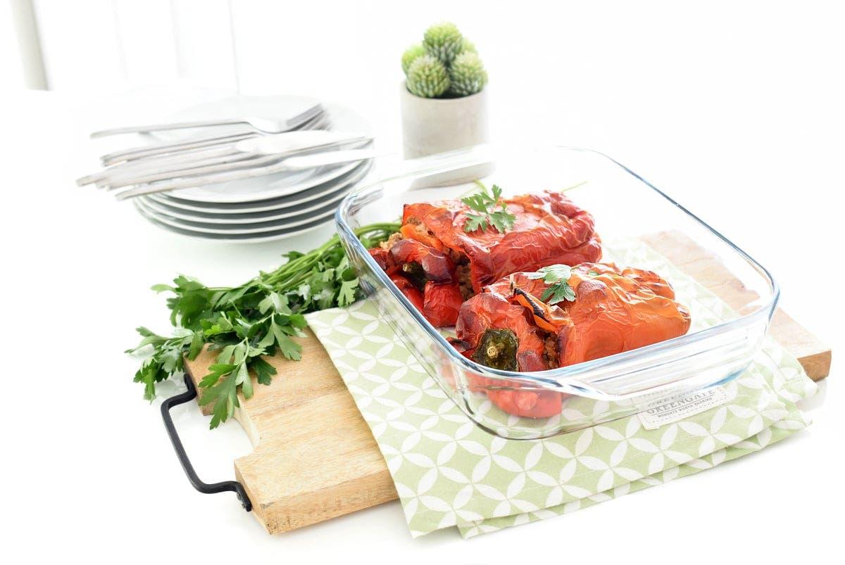Pimientos rellenos de arroz y carne con thermomix - Pimientos rellenos de carne picada y bechamel ...