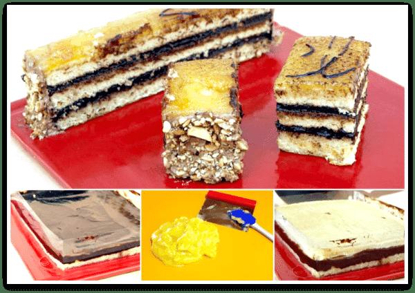Montaje de la tarta de yema y trufa