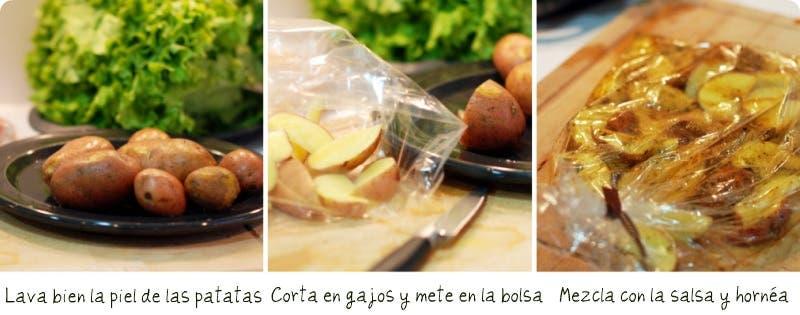 Preparando los ingredientes: pollo listo y patatas en gajos