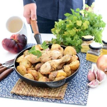 Muslos de pollo con patatas Cajún