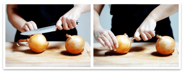 Corta la cebolla por la mitad o retira los culines para mayor estabilidad