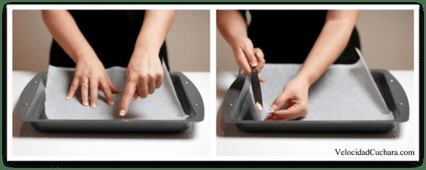 Humedece la superficie o pon un trocito de mantequilla en el papel