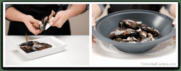 Desbarbar los mejillones y colócalos en el Varoma