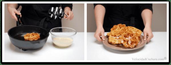 Termina de freír, pasa a un plato y cubre con azúcar glass o canela