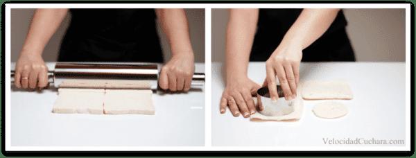 Aplasta las rebanadas de pan de molde y córtalas con el aro