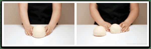 Divide la masa en dos bolas, una será ligeramente más pequeña