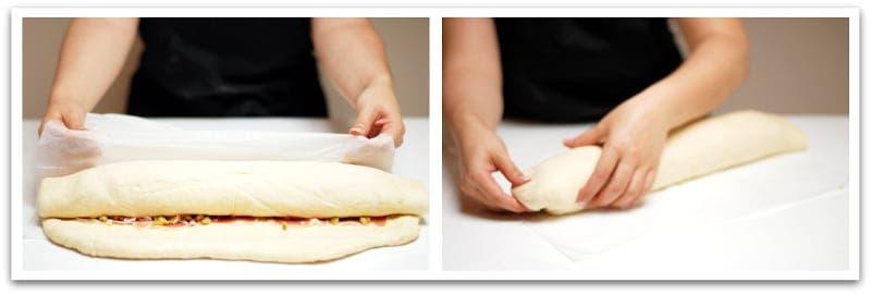 Humedece el borde libre con agua para sellar el pan