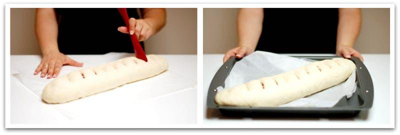 Enrollado el pan, hazle cortes en la superficie