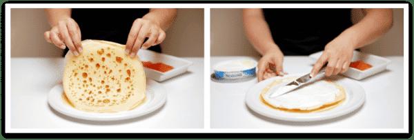 Si ya tienes listos los Crepês, es el momento de untarlos con queso