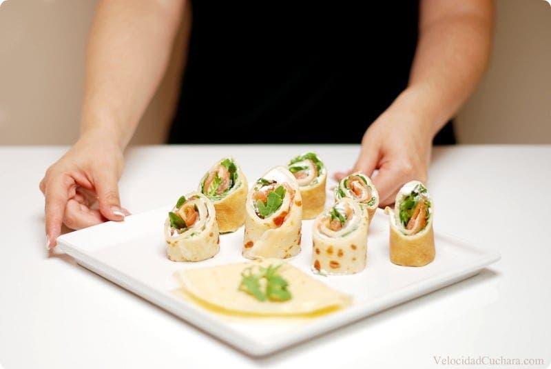 Crepês de queso, rúcula y salmón, paso a paso con Thermomix