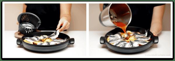 Coloca el pescado sobre las patatas y luego vierte los líquidos