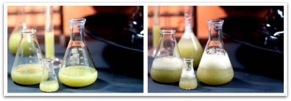 """La pócima antes y después de agregarle gaseosa, las """"burbujas"""""""