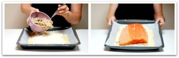 Ve rellenando la empanada: arroz, setas, salmón, huevo...