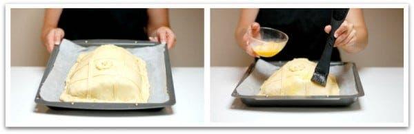 Adorna tu empanada a tu gusto y pincela  con huevo batido