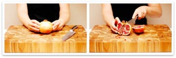 Corta la granada en 2 partes ayudándote de un cuchillo