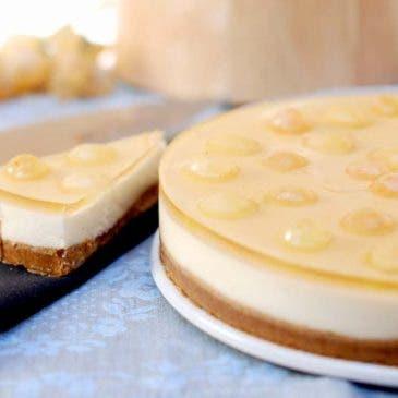 Tarta de queso con uvas de la suerte