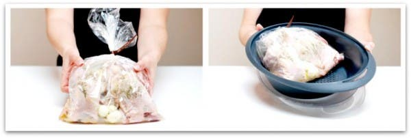 Picantones con Thermomix: Pon dentro del varoma las dos bolsas con los 4 picantones