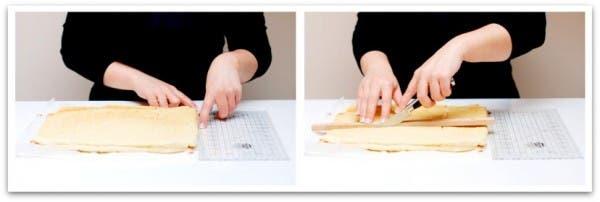 Receta de Tarta Rayada con Thermomix: corta las planchas