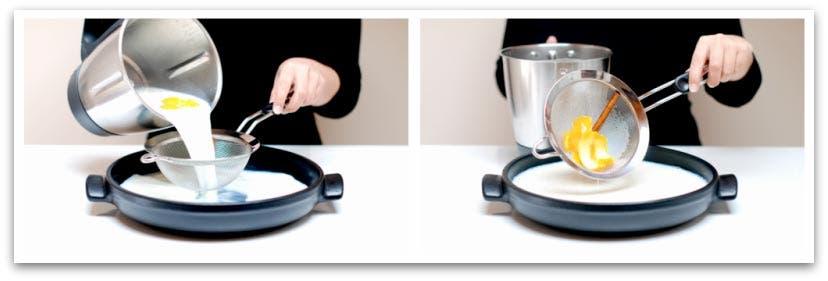 Vierte la leche infusionada en un recipiente amplio para poner el pan en remojo