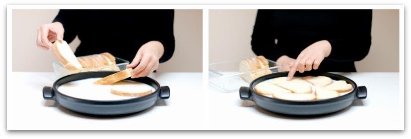 Empapa el pan de torrijas en la leche durante unos minutos