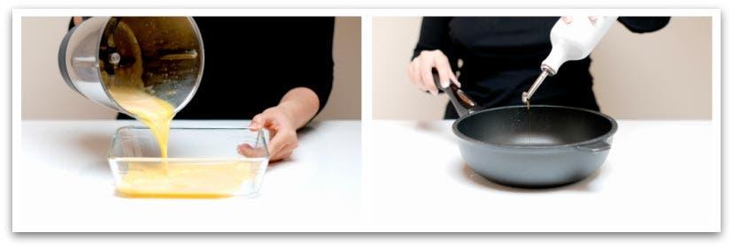 Prepara los huevos batidos para rebozar, y la sartén con aceite virgen extra