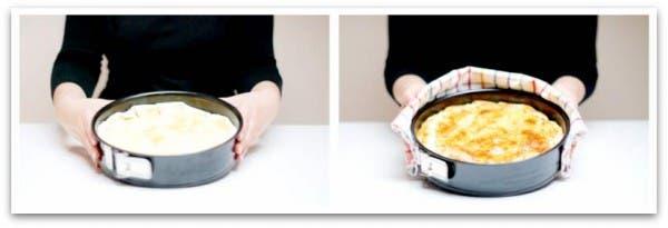 Y aquí la tenemos, tapada y pincelada con huevo y tras el horneado