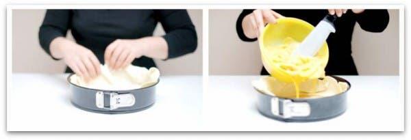 Vierte toda la mezcla de patatas y huevos en frio, en la base de hojaldre