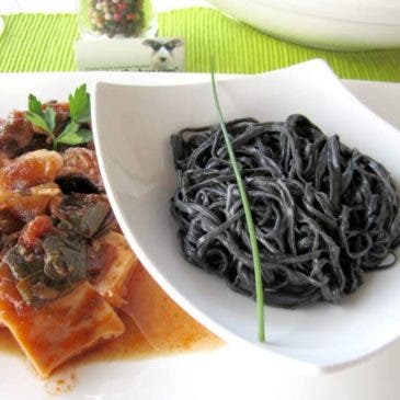 Jibia con espagueti negro
