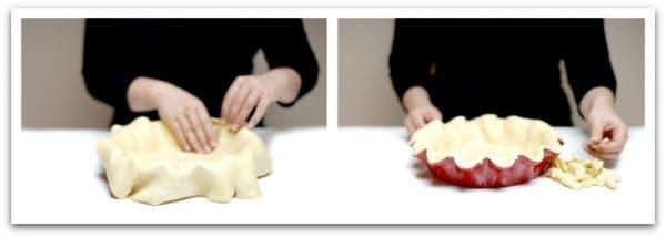 Prepara la mitad de la masa y estírala. Transfiere al molde
