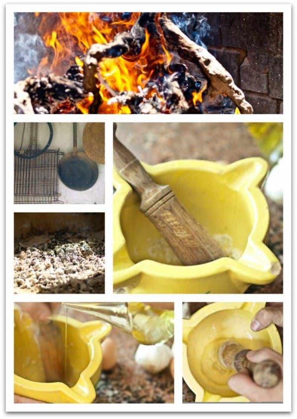 Comenzamos a preparar la salsa mientras hacemos las brasas