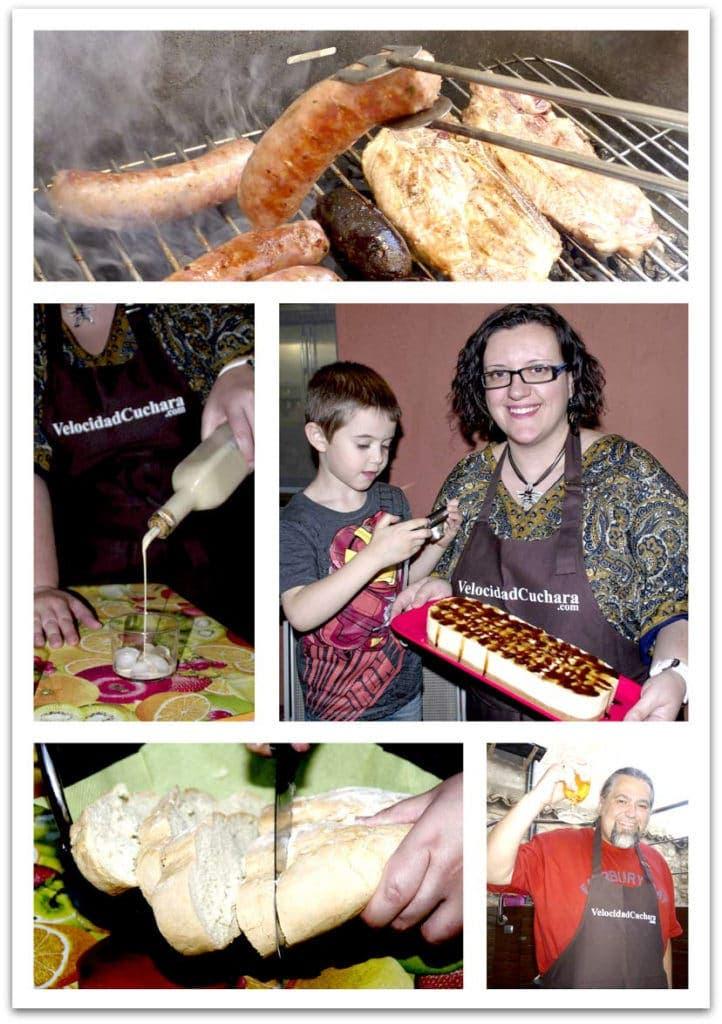 Con los amigos y la familia preparando la Barbacoa