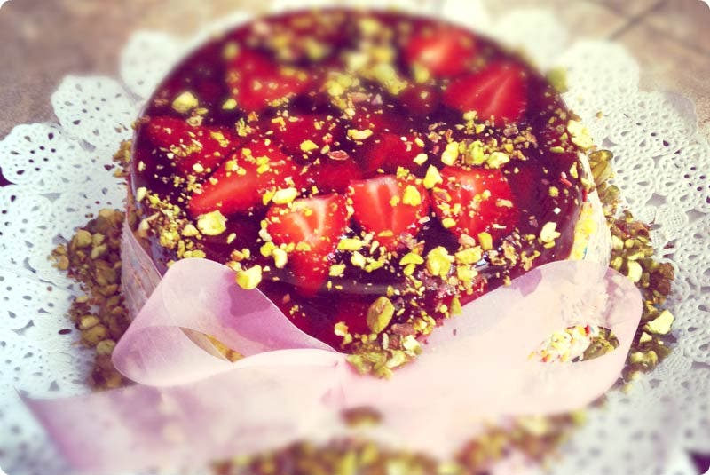 Tarta de fresas con gelatina