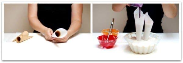 Prepara los conos, envuélvelos y ten listos los tintes comestibles