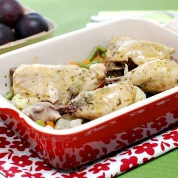 Pollo a las hierbas con verduras al varoma