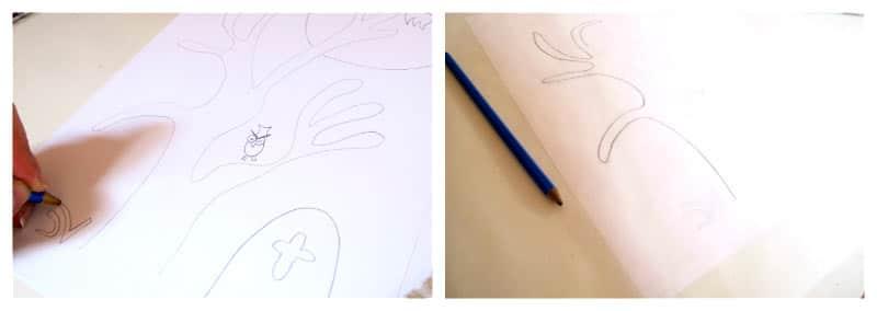 Prepara el dibujo y cálcalo en el papel de horno