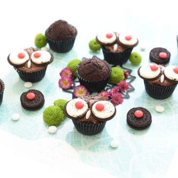 Cupcakes Búho de chocolate, paso a paso