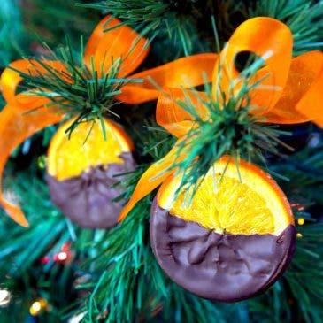 Naranjas confitadas con chocolate para Navidad