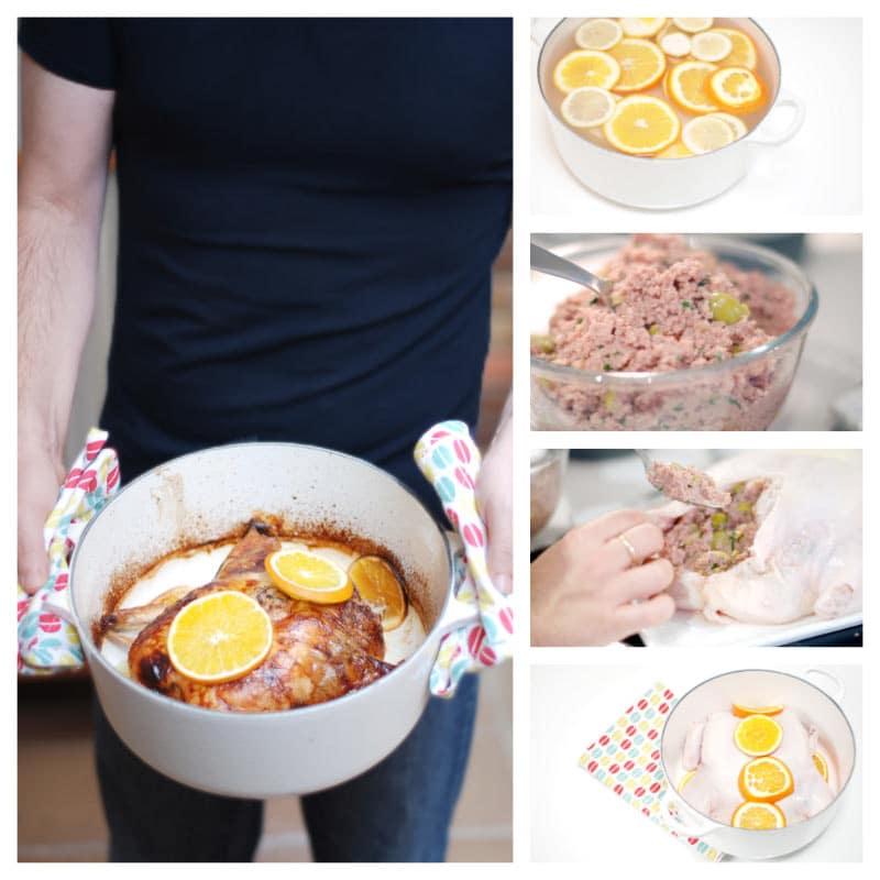 Pon el pollo en remojo, prepara el relleno, ata el pollo y hornea