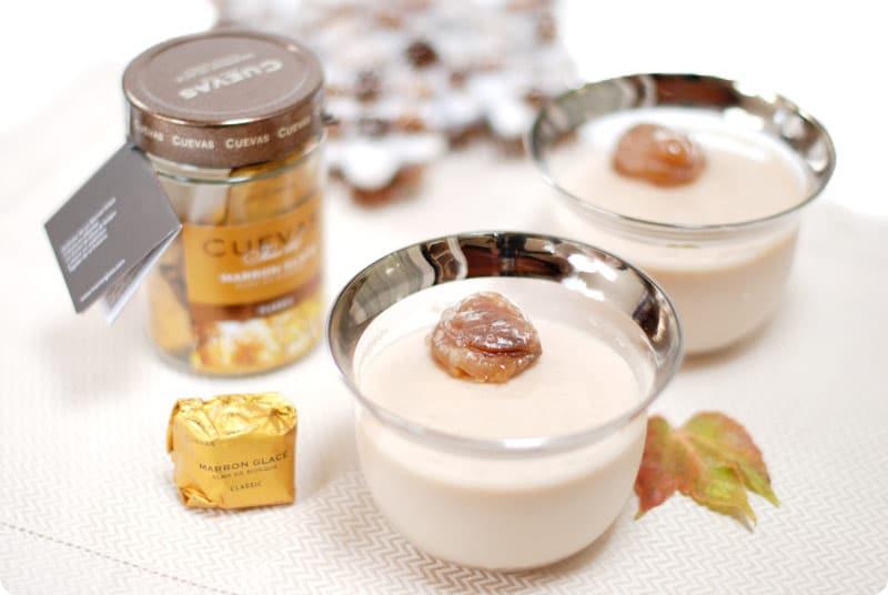 Crema de castañas de postre con marrón glacé