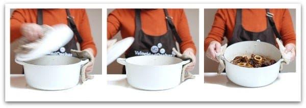 Mi madre con mi cocotte blanca donde os haremos la próxima receta